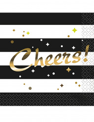 16 Petites serviettes en papier noir et doré Cheers 24.5 cm