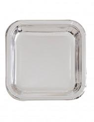 8 Petites assiettes carrées en carton métallisé argent 18 cm