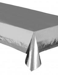 Nappe en plastique métallisée argent 137 x 274 cm