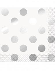 16 Petites serviettes en papier blanc à pois argents 10 x 10 cm