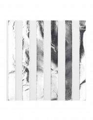 16 Serviettes en papier blanc et argent