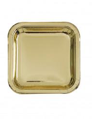 8 Assiettes carrées en carton métallisé or 23 cm