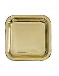 8 Petites assiettes carrées en carton métallisé or 18cm
