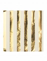 16 Serviettes en papier blanc et or