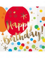 16 Serviettes en papier Happy Birthday Pop