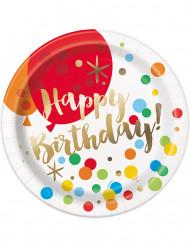 8 Assiettes en carton Happy Birthday Pop 23 cm