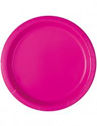 20 Petites assiettes en carton rose fuschia 18 cm