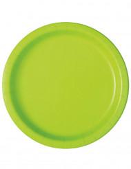 16 Assiettes en carton vert pomme 23 cm