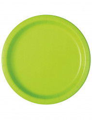20 Petites assiettes en carton vert pomme 18 cm