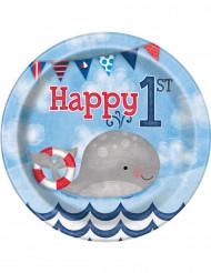 8 Petites assiettes en carton 1er anniversaire Petit Marin 18 cm
