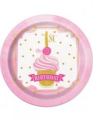 8 Petites assiettes en carton 1 an rose et or 18 cm