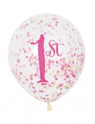 6 Ballons latex 1er anniversaire rose et doré avec confettis
