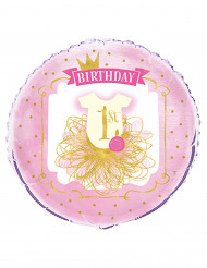Ballon aluminium 1 an rose et doré 45 cm