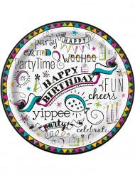 8 Assiettes en carton Doodle Happy Birthday 23 cm