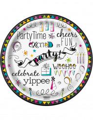 8 Petites assiettes en carton Doodle Happy Birthday 18 cm