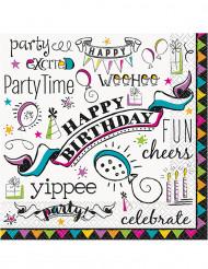 16 Serviettes en papier Doodle Happy Birthday 33 x 33 cmcm