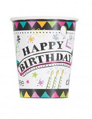 8 Gobelets en carton Doodle Happy Birthday 270 ml