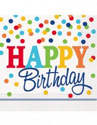 16 Serviettes happy birthday pois multicolores