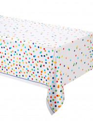 Nappe en plastique happy birthday pois colorés 137 cm x 213 cm