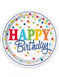 8 Assiettes en carton Happy birthday pois colorés 23cm