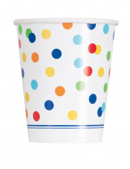 8 Gobelets en carton Happy Birthday pois colorés 270 ml