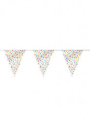 Guirlande fanions Happy birthday pois colorés 3,65 m