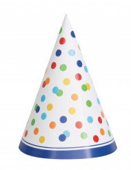 8 Chapeaux de fête Happy birthday pois colorés