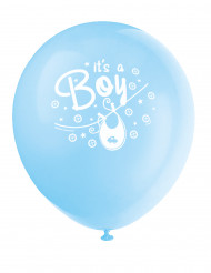 8 Ballons en latex Baby Shower bleu