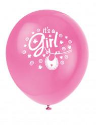 8 Ballons en latex Baby Shower rose