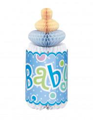Décoration alvéolée Baby shower biberon bleu