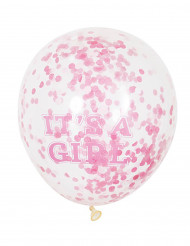 Ballon latex it's a girl confettis roses