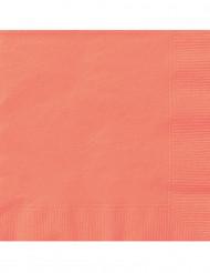 20 Serviettes en papier corail 33 x 33 cm
