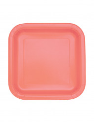 16 Petites assiettes carrées en carton corail 17.5cm