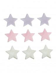 9 Décorations gâteau étoiles colorées
