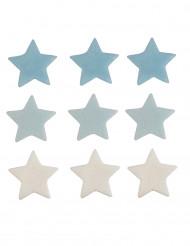 9 décorations gâteau étoiles colorées bleu et blanc