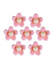 7 Fleurs roses en sucre pour gâteau 2 cm