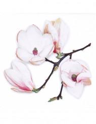 20 Serviettes en papier fleurs blanches 33 x 33 cm