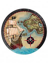 8 Assiettes en carton Ile aux pirates 23 cm