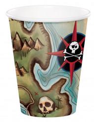 8 Gobelets en carton Ile aux pirates 260 ml