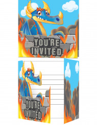 8 Cartes invitation avec enveloppes Dragon