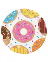 8 Assiettes en carton Donuts 23 cm