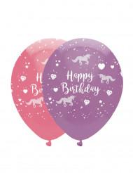 6 Ballons en latex rose et violet licorne 30 cm