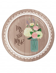 8 Assiettes en carton Mr & Mrs 18 cm