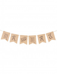 Guirlande toile de jute Mr & Mrs 152 cm
