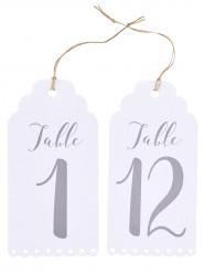 Numéro de table étiquettes blanches