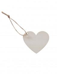 6 Etiquettes en bois coeurs avec ficelle