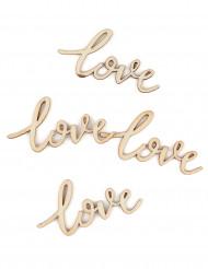 25 Confettis de table en bois Love 5 cm