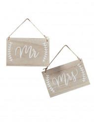 2 Décorations pancartes en bois Mariage Mr & Mrs