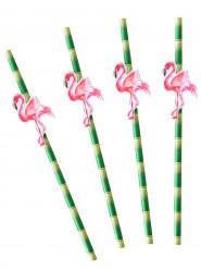 20 Pailles en carton bambou et flamants rose