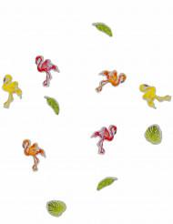 Confettis de table flamant rose tropical